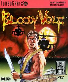Box cover for Bloody Wolf on the NEC TurboGrafx-16.