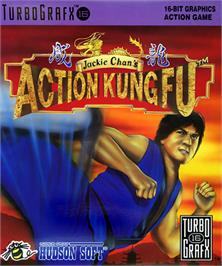 Box cover for Jackie Chan's Action Kung Fu on the NEC TurboGrafx-16.