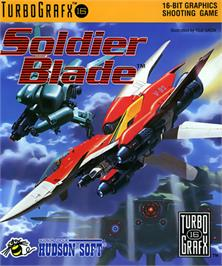 Box cover for Soldier Blade on the NEC TurboGrafx-16.