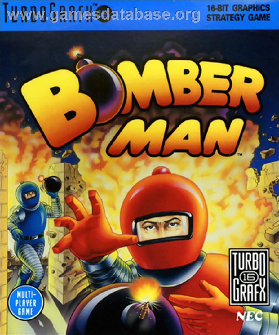 Box cover for Mega Bomberman on the NEC TurboGrafx-16.
