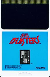 Cartridge artwork for Air Buster on the NEC TurboGrafx-16.
