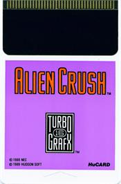 Cartridge artwork for Alien Crush on the NEC TurboGrafx-16.
