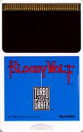 Cartridge artwork for Bloody Wolf on the NEC TurboGrafx-16.