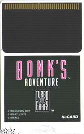 Cartridge artwork for Bonk's Adventure on the NEC TurboGrafx-16.