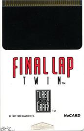 Cartridge artwork for Final Lap Twin on the NEC TurboGrafx-16.