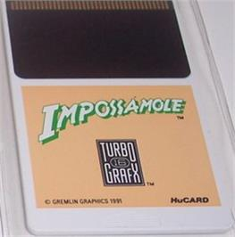 Cartridge artwork for Impossamole on the NEC TurboGrafx-16.