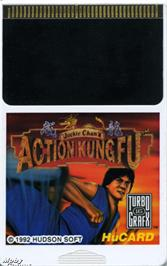 Cartridge artwork for Jackie Chan's Action Kung Fu on the NEC TurboGrafx-16.