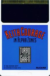 Cartridge artwork for Keith Courage in Alpha Zones on the NEC TurboGrafx-16.