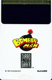 Cartridge artwork for Mega Bomberman on the NEC TurboGrafx-16.