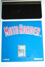 Cartridge artwork for Moto Roader on the NEC TurboGrafx-16.