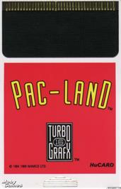 Cartridge artwork for Pac-Land on the NEC TurboGrafx-16.