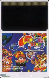 Cartridge artwork for Parasol Stars: The Story of Bubble Bobble III on the NEC TurboGrafx-16.