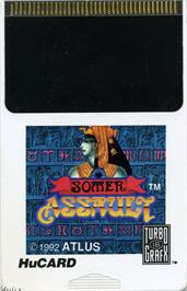 Cartridge artwork for Somer Assault on the NEC TurboGrafx-16.