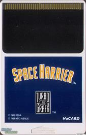 Cartridge artwork for Space Harrier on the NEC TurboGrafx-16.
