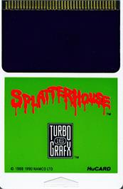 Cartridge artwork for Splatterhouse on the NEC TurboGrafx-16.