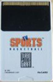 Cartridge artwork for TV Sports: Basketball on the NEC TurboGrafx-16.