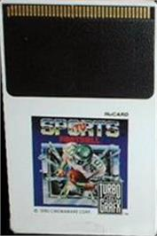 Cartridge artwork for TV Sports: Football on the NEC TurboGrafx-16.