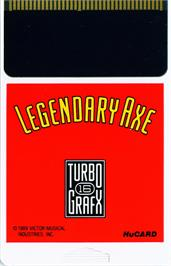 Cartridge artwork for The Legendary Axe on the NEC TurboGrafx-16.