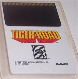 Cartridge artwork for Tiger Road on the NEC TurboGrafx-16.
