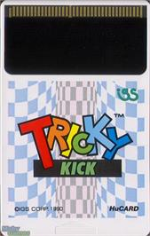 Cartridge artwork for Tricky Kick on the NEC TurboGrafx-16.