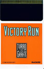 Cartridge artwork for Victory Run on the NEC TurboGrafx-16.