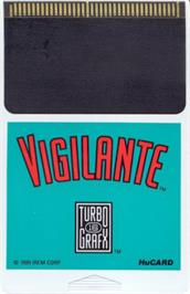 Cartridge artwork for Vigilante on the NEC TurboGrafx-16.