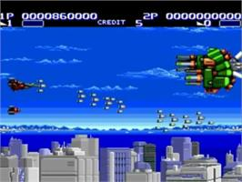 In game image of Air Buster on the NEC TurboGrafx-16.