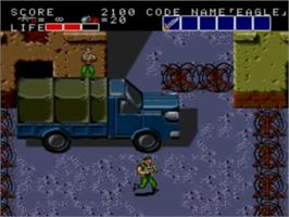 In game image of Bloody Wolf on the NEC TurboGrafx-16.