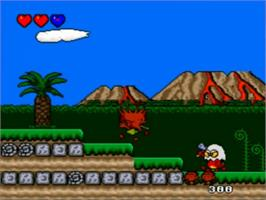 In game image of Bonk's Adventure on the NEC TurboGrafx-16.