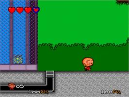 In game image of Bonk 3: Bonk's Big Adventure on the NEC TurboGrafx-16.