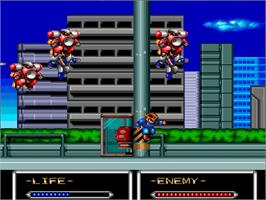 In game image of Shockman on the NEC TurboGrafx-16.