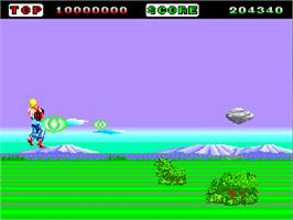 In game image of Space Harrier on the NEC TurboGrafx-16.