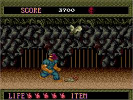 In game image of Splatterhouse on the NEC TurboGrafx-16.