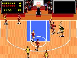 In game image of TV Sports: Basketball on the NEC TurboGrafx-16.