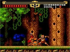 In game image of The Legendary Axe on the NEC TurboGrafx-16.