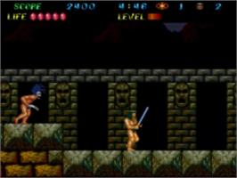 In game image of The Legendary Axe II on the NEC TurboGrafx-16.