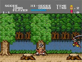 In game image of Tiger Road on the NEC TurboGrafx-16.