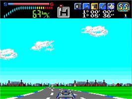 In game image of Victory Run on the NEC TurboGrafx-16.