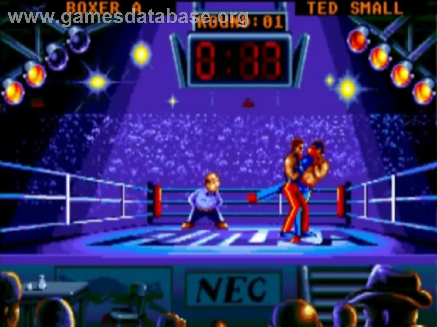 In game image of Panza Kick Boxing on the NEC TurboGrafx-16.