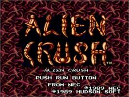 Title screen of Alien Crush on the NEC TurboGrafx-16.