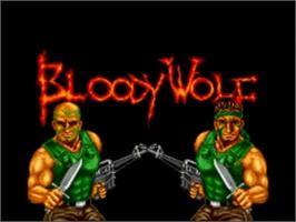 Title screen of Bloody Wolf on the NEC TurboGrafx-16.