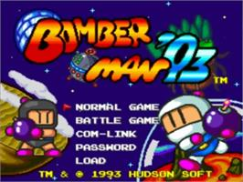 Title screen of Bomberman '93 on the NEC TurboGrafx-16.