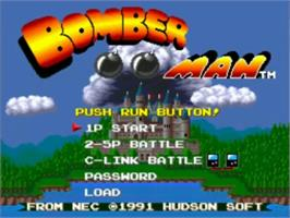 Title screen of Bomberman on the NEC TurboGrafx-16.