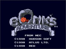 Title screen of Bonk's Adventure on the NEC TurboGrafx-16.