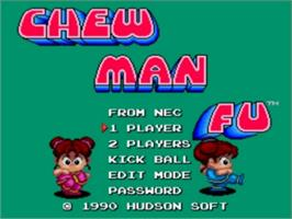 Title screen of Chew Man Fu on the NEC TurboGrafx-16.