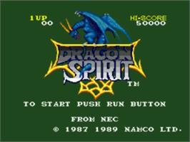 Title screen of Dragon Spirit: The New Legend on the NEC TurboGrafx-16.
