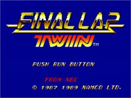 Title screen of Final Lap Twin on the NEC TurboGrafx-16.