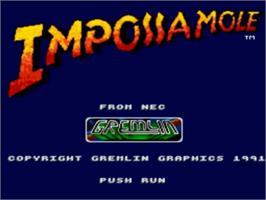 Title screen of Impossamole on the NEC TurboGrafx-16.