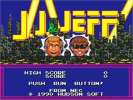 Title screen of J.J. & Jeff on the NEC TurboGrafx-16.