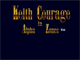 Title screen of Keith Courage in Alpha Zones on the NEC TurboGrafx-16.